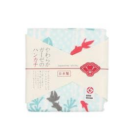 【カヤ】japanese style やわらかガーゼのハンカチ 水草と金魚 その他