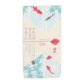 【カヤ】japanese style やわらかガーゼのてぬぐい 水草と金魚 その他