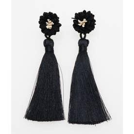 【カヤ】菊とタッセルピアス ブラック