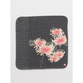 【カヤ】言祝ぐはんかちタオル 菊 ブラック