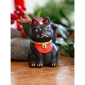 【カヤ】民芸陶器みくじ 招き猫 ブラック