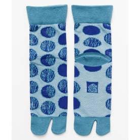 【カヤ】鹿の子編み足袋型くつ下23-25cm 水玉模様 ブルー