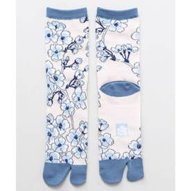 【カヤ】足袋型くつ下23-25cm しだれ桜 ブルー