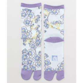 【カヤ】足袋型くつ下23-25cm しだれ桜 パープル