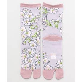 【カヤ】足袋型くつ下23-25cm しだれ桜 ピンク