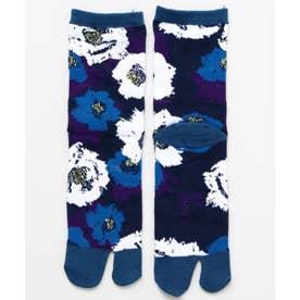 【カヤ】足袋型くつ下23-25cm モダン椿 ブルー