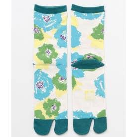 【カヤ】足袋型くつ下23-25cm モダン椿 グリーン