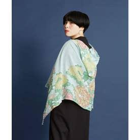 【カヤ】菊あつめ頭巾ストール UVカット加工 スカイブルー