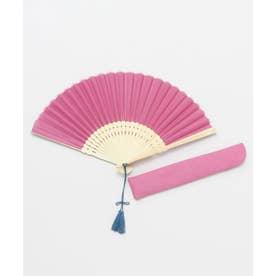 【カヤ】色合わせ扇子 ピンク