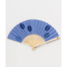 【カヤ】玉刺繍扇子 ブルー