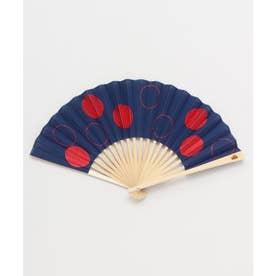 【カヤ】玉刺繍扇子 ネイビー