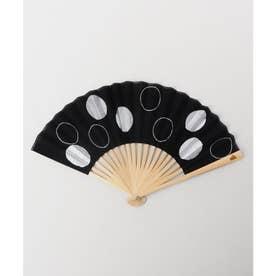 【カヤ】玉刺繍扇子 ブラック×ホワイト