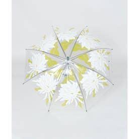 【カヤ】和の赴き傘 月下美人 透明傘 ホワイト×グリーン