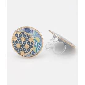 【カヤ】手毬イヤリング 麻の葉 ブルー