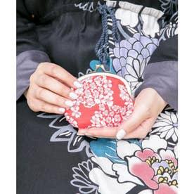 【カヤ】四季ふくれ織り 丸がま口 レッド