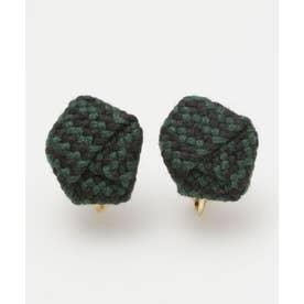 【カヤ】絹織り包みイヤリング グリーン