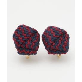 【カヤ】絹織り包みイヤリング ネイビー