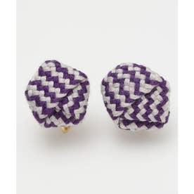 【カヤ】絹織り包みイヤリング パープル