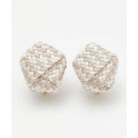 【カヤ】絹織り包みイヤリング ホワイト