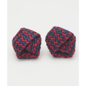 【カヤ】絹織り包みピアス ネイビー