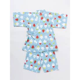 【カヤ】高島ちぢみ 子ども甚平130cm かき氷 ブルー