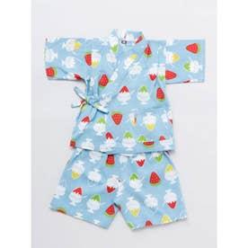 【カヤ】高島ちぢみ 子ども甚平90cm かき氷 ブルー