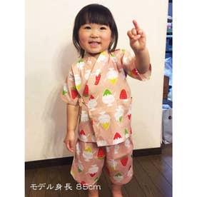 【カヤ】高島ちぢみ 子ども甚平90cm かき氷 ピンク