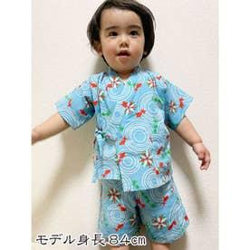 【カヤ】高島ちぢみ 子ども甚平90cm 金魚 ブルー