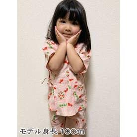 【カヤ】高島ちぢみ 子ども甚平110cm 金魚 ピンク