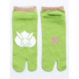 【カヤ】お守り足袋くつ下25~28cm うさぎ グリーン×ピンク