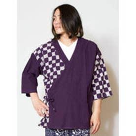 【カヤ】歌舞くメンズ羽織り 作務衣風カーディガン パープル