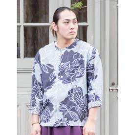 【カヤ】色芍薬メンズノーカラーシャツ グレー