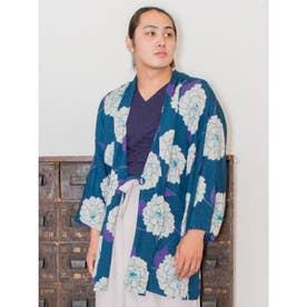 【カヤ】粋色牡丹メンズ羽織り ターコイズブルー