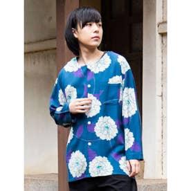 【カヤ】粋色牡丹メンズノーカラーシャツ ターコイズブルー