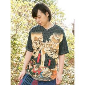 【カヤ】浮世絵 和ロハメンズTシャツ ブラック