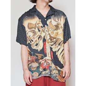 【カヤ】浮世絵 和ロハメンズシャツ ブラック