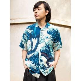 【カヤ】浮世絵 和ロハメンズシャツ ネイビー