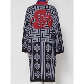 【カヤ】左金輪巴 火消しメンズニット羽織り ブラック