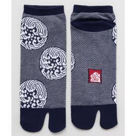 【カヤ】鹿の子編み足袋型くつ下25~27cm 波 ネイビー