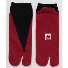 【カヤ】足袋型くつ下25~28cm 重ね色 ブラック×レッド