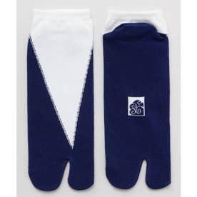 【カヤ】足袋型くつ下25~28cm 重ね色 ホワイト×ブルー