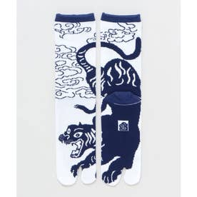 【カヤ】足袋型くつ下25-28cm 干支 寅 ホワイト×ブルー