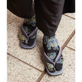 【カヤ】足袋型くつ下25-28cm 獅子 ブラック×ブルー