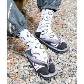 【カヤ】足袋型くつ下25-28cm ホワイト×ブラック