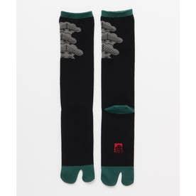 【カヤ】長丈足袋型くつ下25-28cm 松 ブラック×グリーン