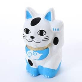 【カヤ】招き猫 風神 ホワイト×ブルー