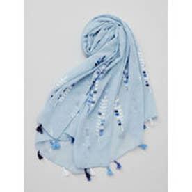 【カヤ】シダの葉刺繍ストール ブルー