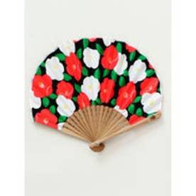 【カヤ】モダン椿扇子 袋付き ブラック×レッド