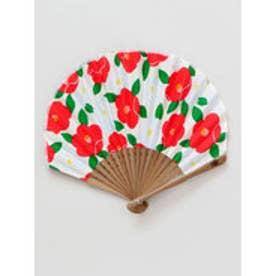 【カヤ】モダン椿扇子 袋付き ホワイト×レッド