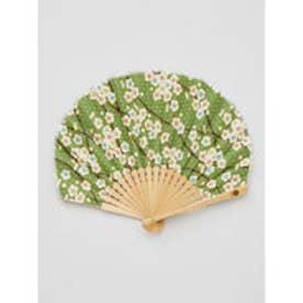 【カヤ】枝梅扇子 袋付き グリーン